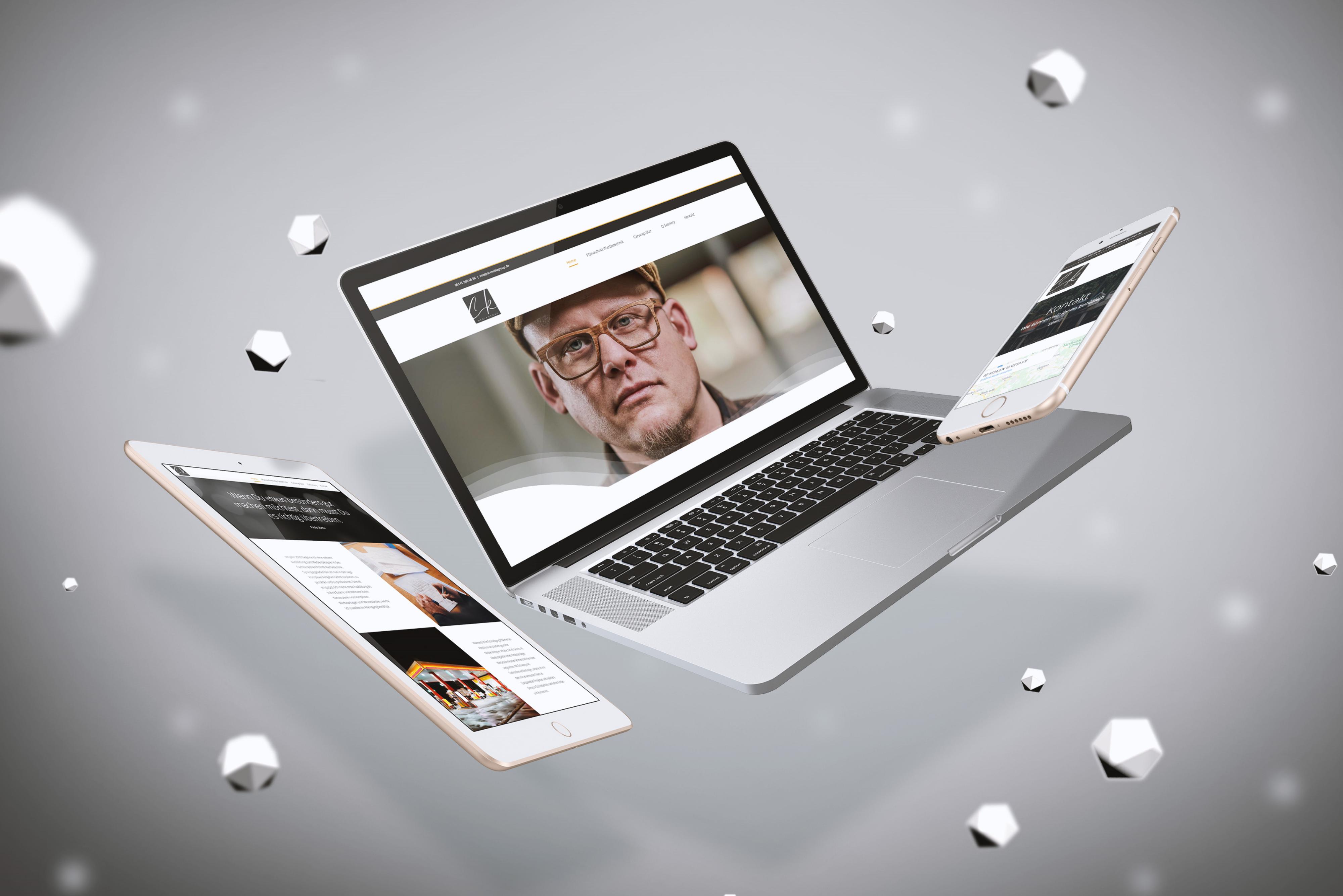 Mockup der Internetseite ck-mediagroup.de - Mehrere Ansichten
