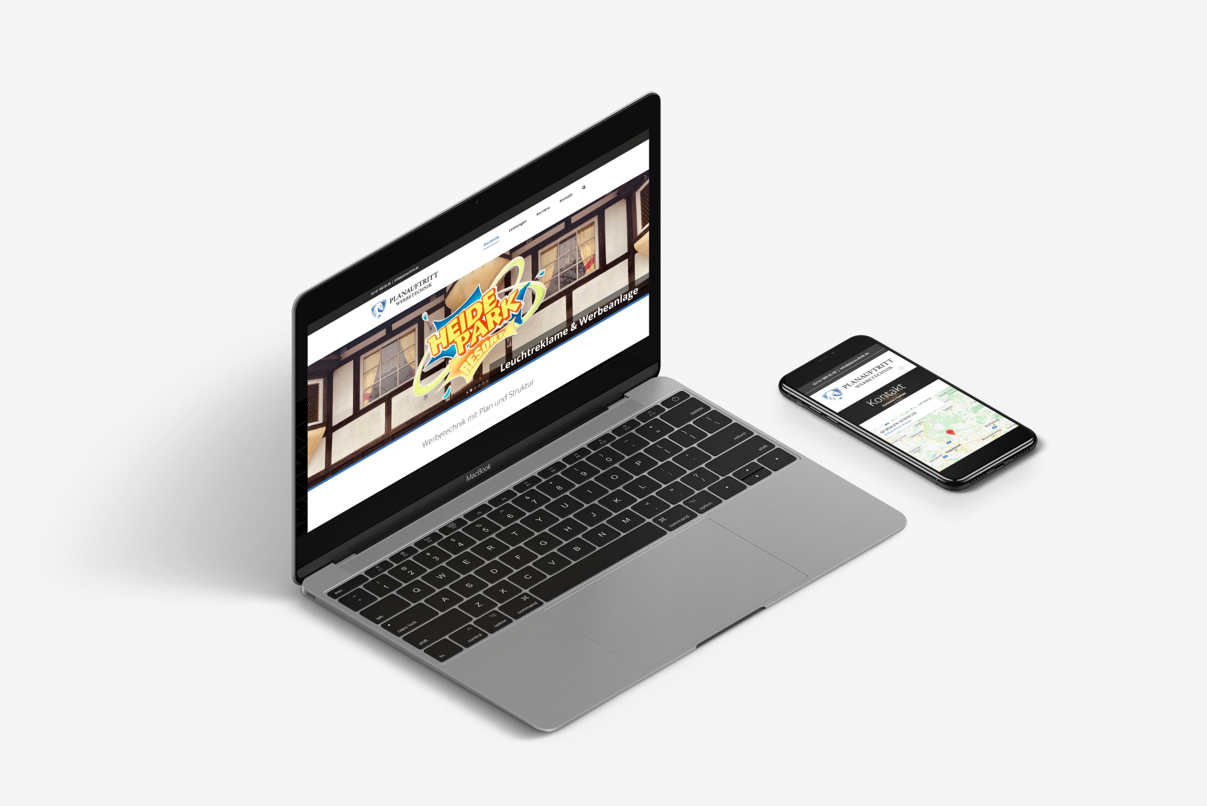 Mockup der Internetseite Planauftritt.de - Mehrere Ansichten